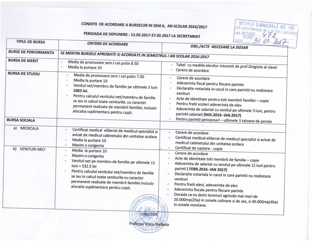 Conditii de acordare a burselor in semestrul II, an scolar 2016- 2017